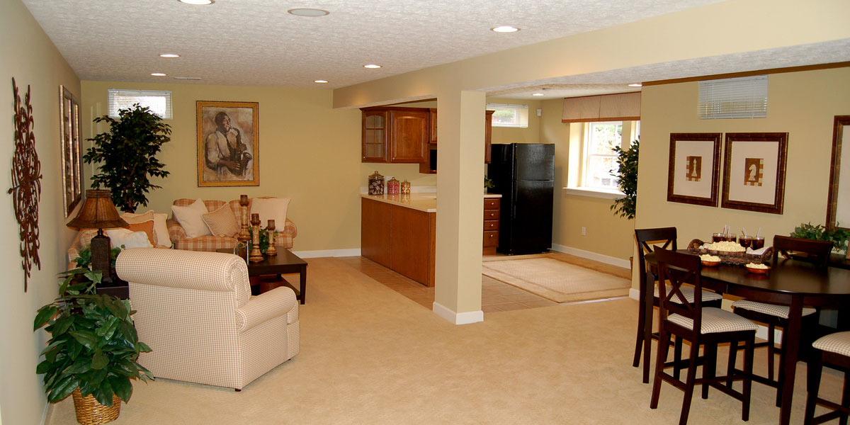 Kitchen remodeling bathroom remodeling basement finishing for Images of finished basements